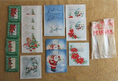 $ CDN18.87 • Buy Vintage Christmas Lot - 12 Cards - Crepe Paper Icicles - Gift Cards
