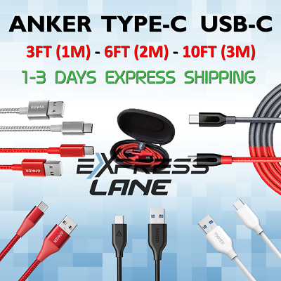 AU51.93 • Buy ANKER Type C USBC Cable 3FT Or 6FT Or 10FT Thick Durable Braided Lot For Android