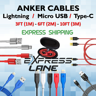AU59.92 • Buy Anker Cable Charger 8-Pin / Micro USB / Type C Phones 3FT/6FT/10FT Fast Lot