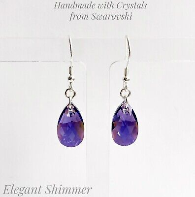 £10.95 • Buy 925 SILVER Earrings With Swarovski®️ 16mm Tanzanite AB Crystals. Purple Gift