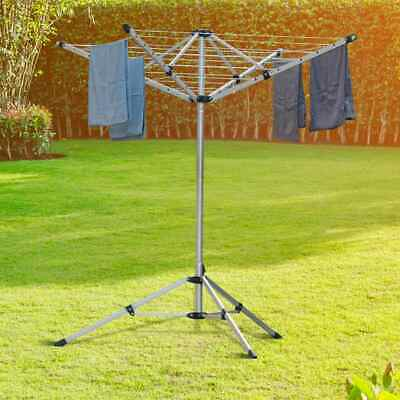 £40.93 • Buy Heavy Rotary Clothes Airer Dryer 4 Arms Washing Line Free Stand Patio Camping