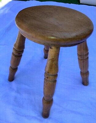 $55.59 • Buy Vintage Rustic Wooden Milking Stool Turned Legs Farmhouse Lovely Aged Condition