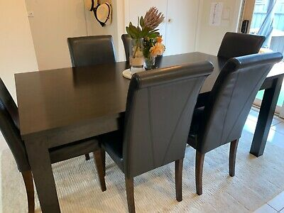 AU450 • Buy Dining Table And 6 Chairs, Dark Wood And Leather, Used And Good Condition