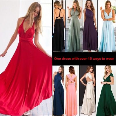 £19.59 • Buy Women Bridesmaid Long Maxi Dress Prom Lady Sexy Backless Ball Gown Evening Party
