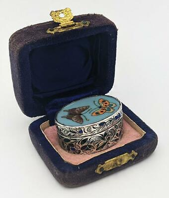 £175 • Buy Indian Lucknow Silver & Enamel Box Japanese Cloisonne Top 19th Century