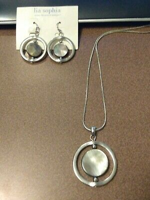 $ CDN12.58 • Buy Lia Sophia Silver Circle Pendant Necklace And Earrings With Gray Abalone Shell