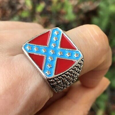 $21 • Buy Men Confederate States Enamel Red Blue Silver Tone Ring Size 8