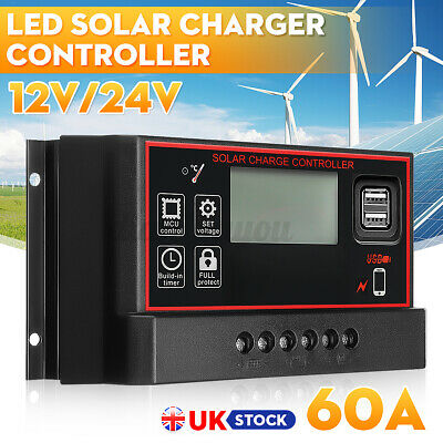 £16.49 • Buy 60A Solar Panel Battery Charge Controller 12V/24V LCD Dual USB PWM Charger