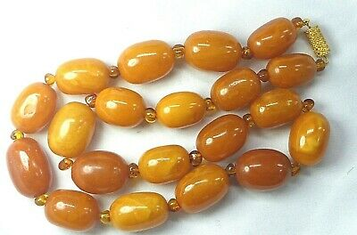 £247 • Buy Antique Butterscotch Egg Yolk Amber Beads Necklace 56.86g Chinese Interest