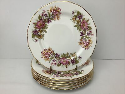 £19.99 • Buy Colclough China Wayside / Honeysuckle 6 X Side Plates Superb Condition 16cm