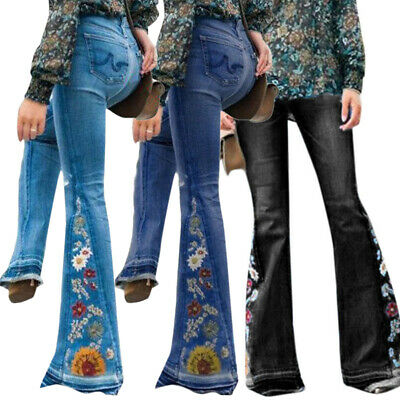 £21.69 • Buy Womens Bootcut Hippy Floral Bell Flared Jeans Embroidery Trousers Bottoms Denim