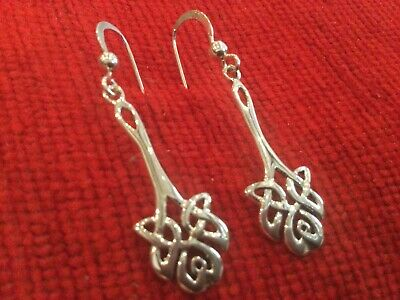 £5.50 • Buy Stunning 925 Silver Celtic Knot Style Earrings Stamped 925 To Earrings & Hooks