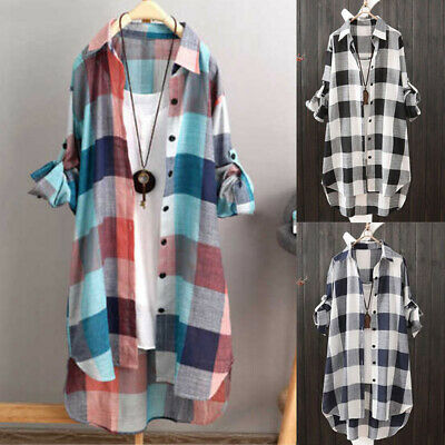 £12.39 • Buy Plus Size Womens Long Sleeve Check Tunic T Shirts Tops Ladies Baggy Blouse Dress