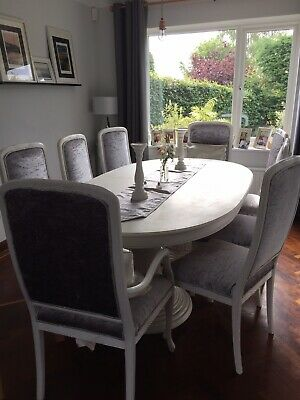 £170 • Buy White Oval Dinning Table And 8 Chairs