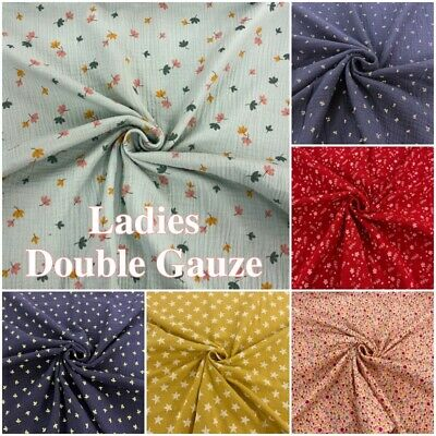 £5.25 • Buy Double Gauze Fabric Cotton Patterned Floral Dressmaking Craft Material Muslin