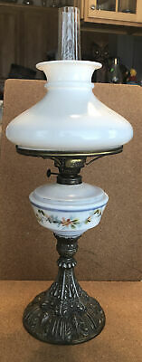 $11.50 • Buy Victorian Oil Painted Milk Glass Cast Metal Base Table Lamp W/ Shade Complete