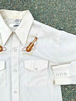 $41.99 • Buy Vintage Pearl Snap Lazy TT Embroidered Music Western Rockabilly Shirt Size M