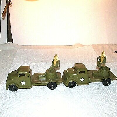 $10.50 • Buy 2 Vintage Plastic PYRO MILITARY TRUCKS W/ SOLDIERS AS IS USA VG PARTS 5 1/8  L