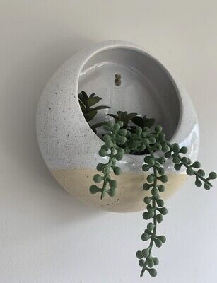 £11.99 • Buy Ceramic Wall Hung Filled String Of Pearls Planter Indoor Plant Pot Holder