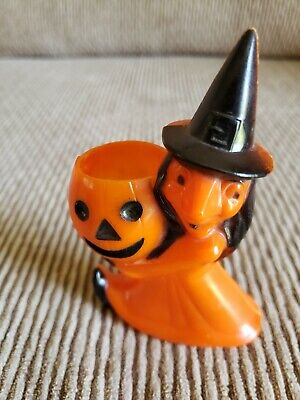 $ CDN44.06 • Buy Preown Vintage Halloween ROSBRO Plastic WITCH JOL CANDY HOLDER Container  MINT