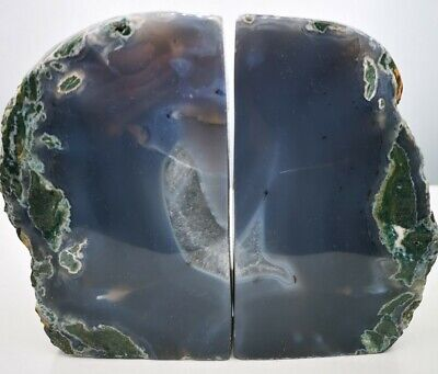£59.99 • Buy Stunning Heavy Large Purple Moss  Agate Geode Bookends, Healing Crystal