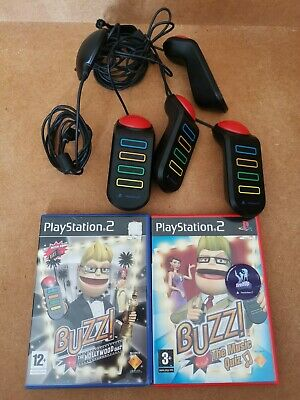 £19.99 • Buy Buzz Controllers Buzzers Sony Playstation 2 PS2 + 2 Games Hollywood & Music Quiz