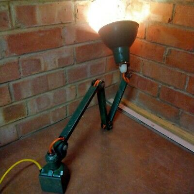 £83 • Buy Vintage EDL Industrial Machinists Enameled Lamp 3 Arm Angle-poise Working