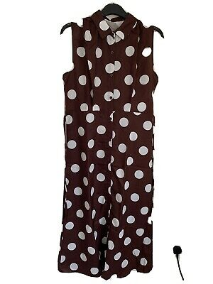 £5 • Buy Brown Dress With Large Polka Dot, Light Weight Summer Material,  Size 16