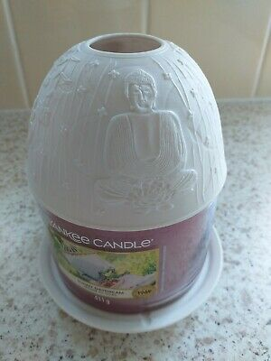 £5.99 • Buy Yankee Candle Buddha Shade & Tray In Matt White VGC ( Candle Not Included!)