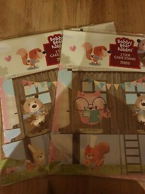 £2.75 • Buy 2 X Bobby Bear 2 Tier Cake Stands And 24 Bobby Bear Cupcake Wraps - New/Sealed