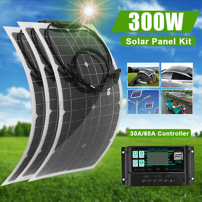 £35.99 • Buy 300W Flexible Solar Panel Charge Kit Marine Caravan Battery Charger Controller