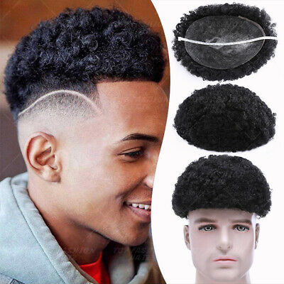 £156.17 • Buy Full Poly Virgin Human Hair Piece Toupee Topper Replacement System Kinky Curly