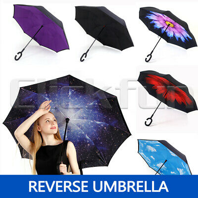 AU16.55 • Buy Windproof Upside Down Reverse Umbrella C-Handle Double Layer Inside-Out Inverted