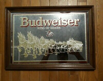 $ CDN440.60 • Buy 1988 Budweiser Gold Clydesdale Horse Mirror Bar Sign 21 ×15  King Of Beers U.S.A