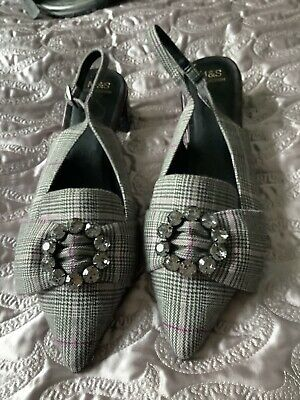 £7 • Buy M&S COLLECTION INSOLIA Grey Check/patent SLING BACK SHOES With Diamante Bow 6.5