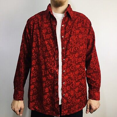 £14.95 • Buy Vintage Paisley Patterned Corduroy Shirt Long Sleeve Snap Button XL