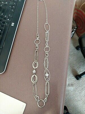 $ CDN9.44 • Buy Lia Sophia Silver Ovals And Circles Long Chain Necklace, Beautiful