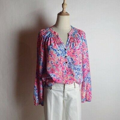 $58 • Buy LILLY PULITZER Women's Elsa Top Silk Coral Watercolor Sz Small Long Sleeve