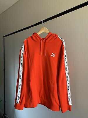 AU40 • Buy PUMA Mens Taped Logo Red Pullover Hoodie Jumper | Large (Mint Condition)