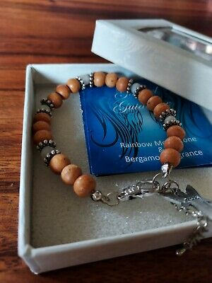 £7.99 • Buy Brand New Moonstone And Wooden Beaded Braclet With Archangel Gabriel Charm. 3cm.
