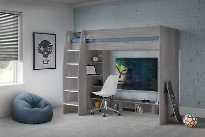 £469.99 • Buy Nebula Gaming Bed With Desk And Shelves In Grey Oak 2 Man Home Delivery