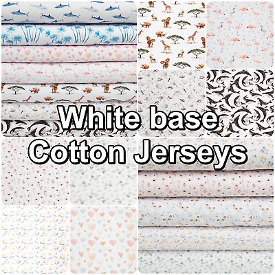 £7 • Buy White Based Jersey Fabric Patterned Cotton 4 Way Colourful Stretch Knit  Dress