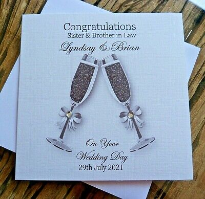 £4 • Buy Handmade Personalised Congratulations Wedding Day Champagne Flutes Card 6  G1