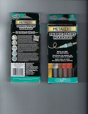 £14.46 • Buy Lot Of 2 Tulip #38472 Metallic Glitter Fabric Paint Markers-Sets Of 6