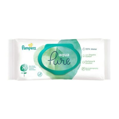 £8.95 • Buy 2 X PAMPERS Aqua Pure Wipes (Large 70 Pack)  **FREE DELIVERY**