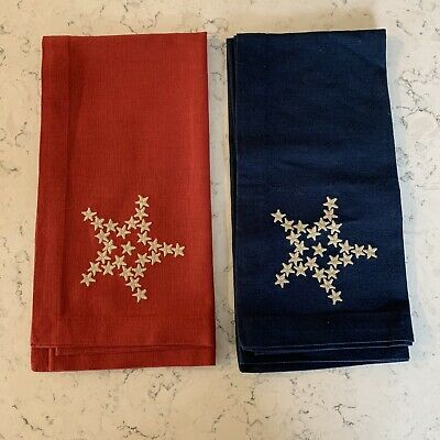 £54.54 • Buy 19 Pottery Barn Napkins 4th Of JulyRed Blue Stars Cotton Linen Patriotic Holiday