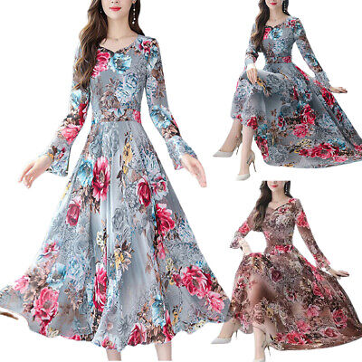 AU24.19 • Buy Womens Long Sleeve Floral Midi Dress Party Ball Gown Evening Slim Swing Dresses