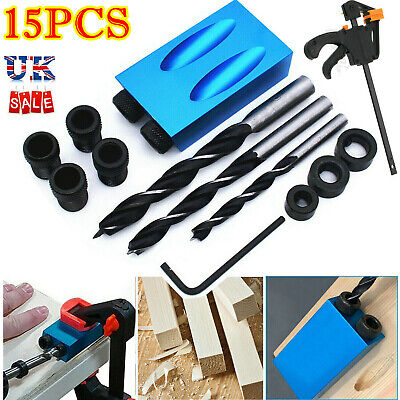 £3.32 • Buy 15pcs Silverline Pocket Hole Screw Jig Kit Woodworking Guide Drill Angle Locator