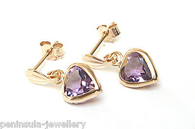 £35.99 • Buy 9ct Gold Amethyst Drop Earrings 6mm Heart Gift Boxed Made In UK