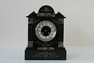 £345 • Buy EXCEPTIONAL FRENCH SLATE & MARBLE MANTEL CLOCK C1870